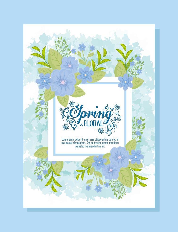 schattige bloemen lente kaartsjabloon met bloemen vector