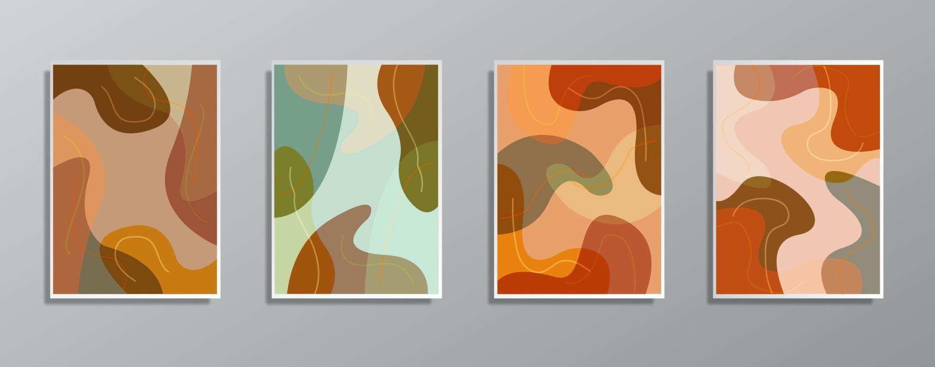 set van creatieve minimalistische hand getrokken vintage neutrale kleurenillustraties, voor muur. voor cadeaubon, poster op muurpostersjabloon, bestemmingspagina, ui, ux, coverbook, baner, vector