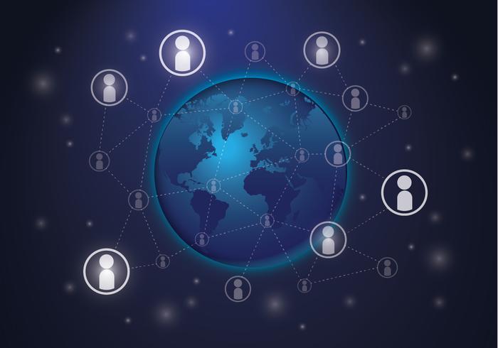 Ethereum-netwerk op een wereldbol vector