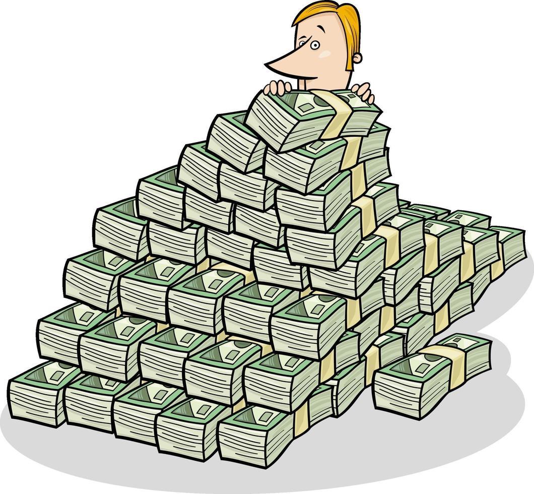 zakenman en grote stapel geld concept cartoon vector
