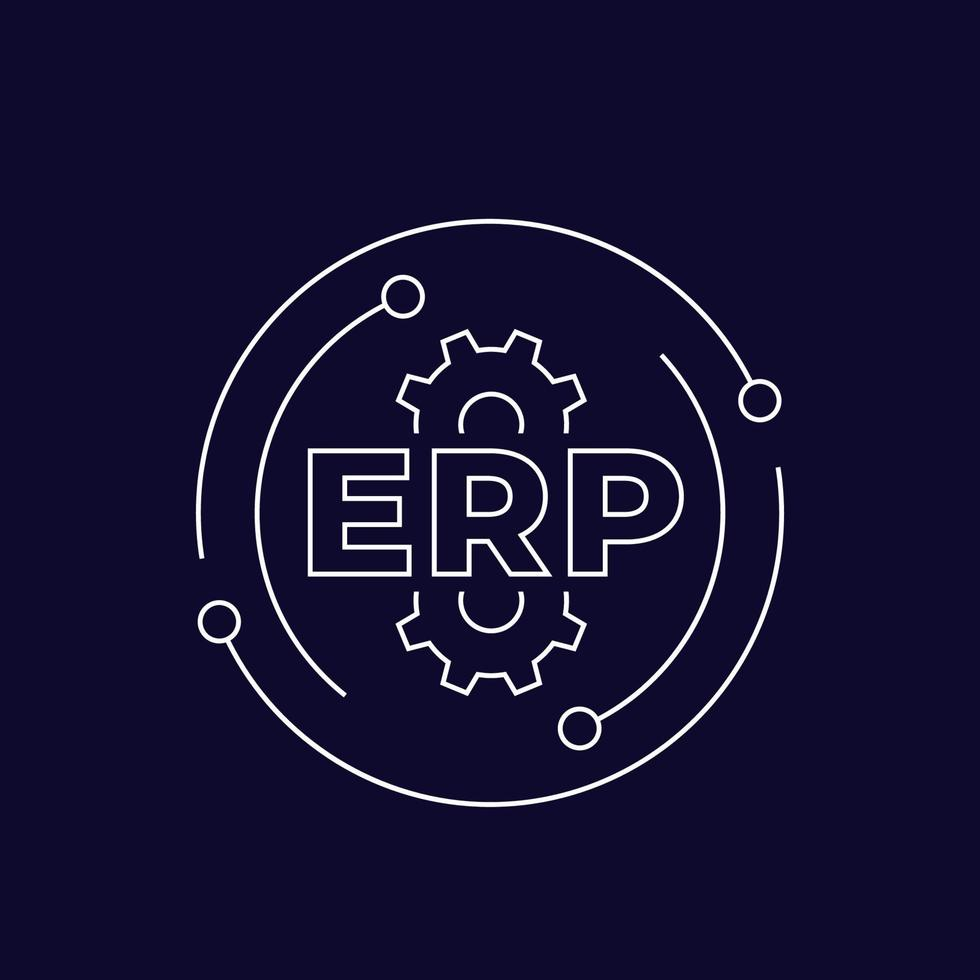 erp, Enterprise Resource Planning, lineaire icon.eps vector