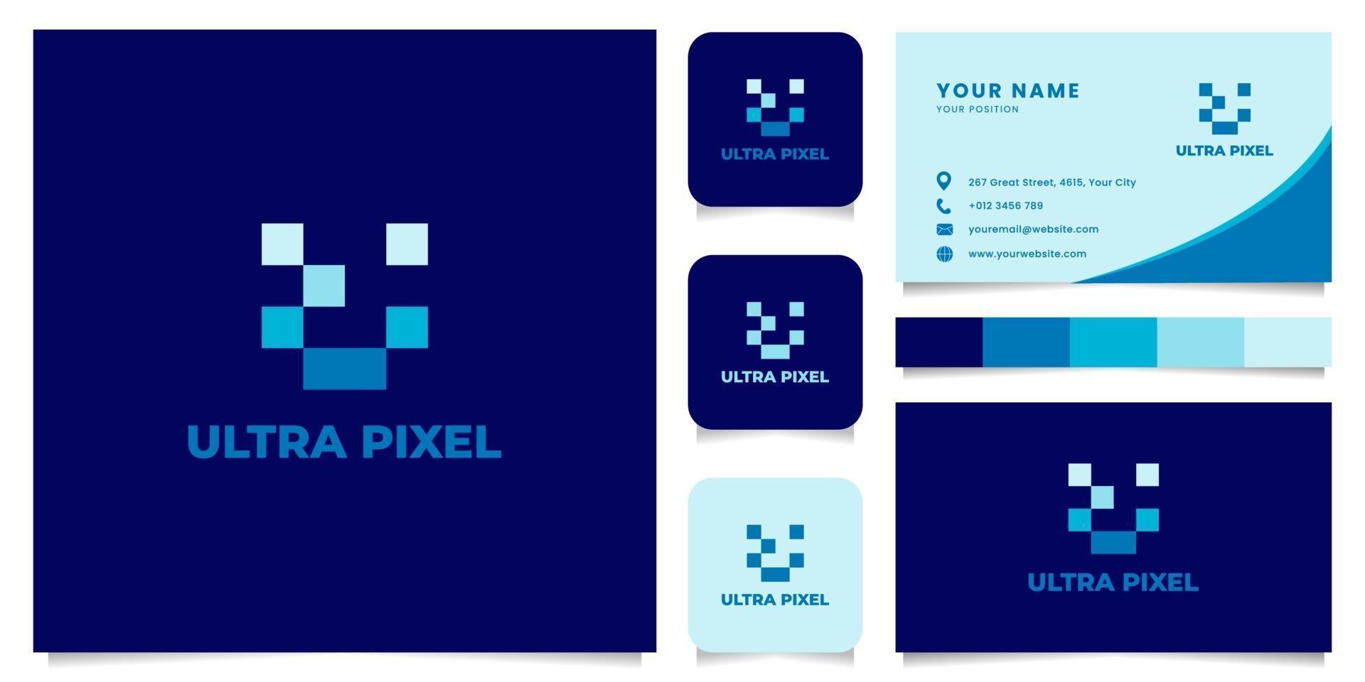 letter u pixel logo met sjabloon voor visitekaartjes vector