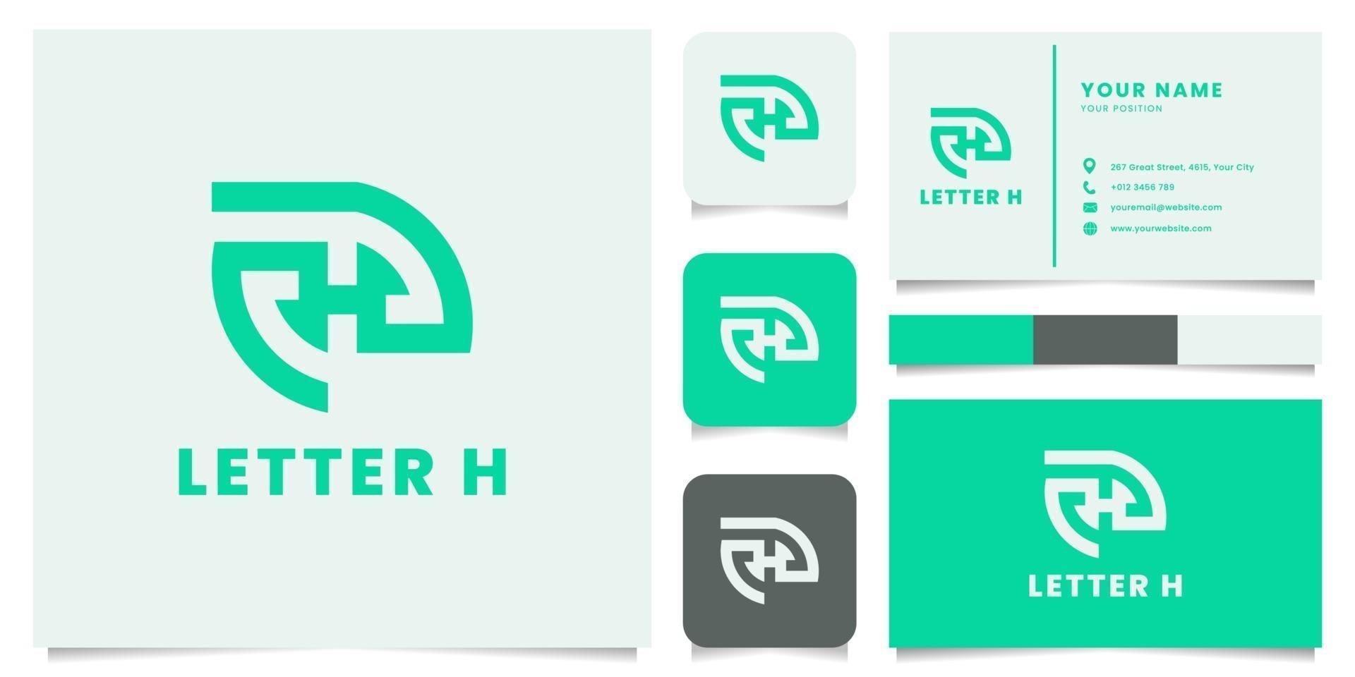 letter h-logo met sjabloon voor visitekaartjes vector