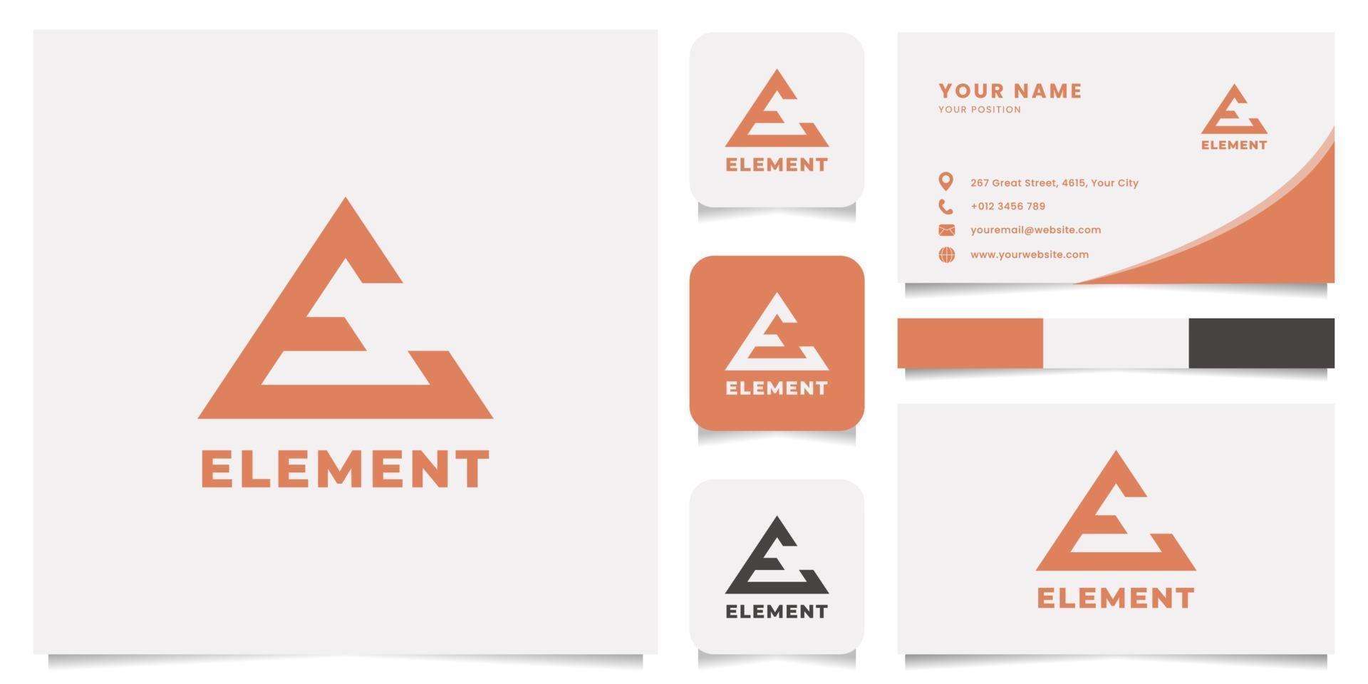 pijl letter e-logo met de sjabloon voor visitekaartjes vector