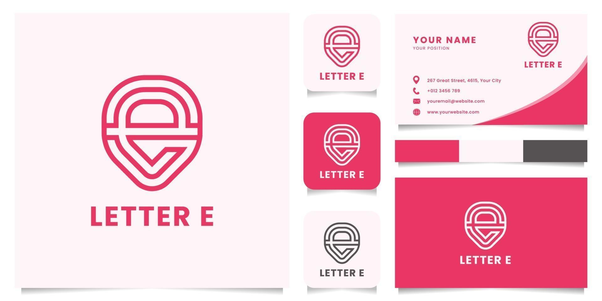 capsule letter e-logo met sjabloon voor visitekaartjes vector
