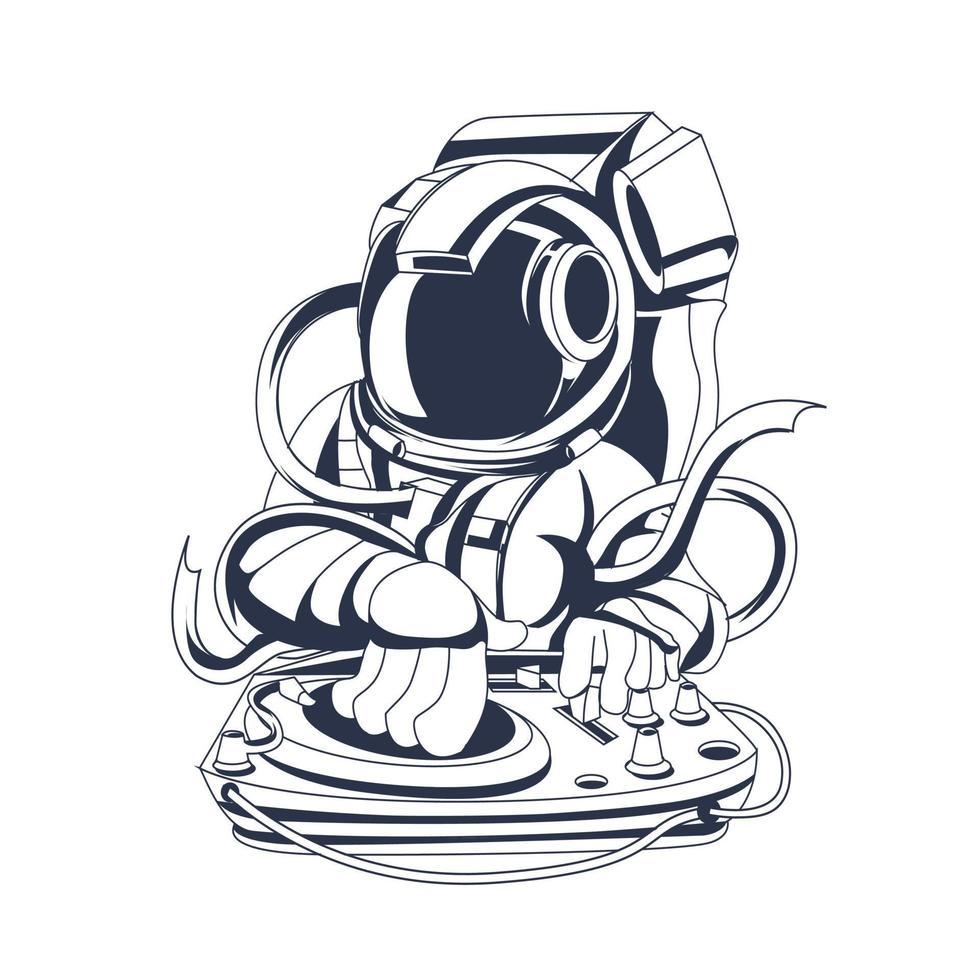 dj astronaut inkt illustratie kunstwerk vector