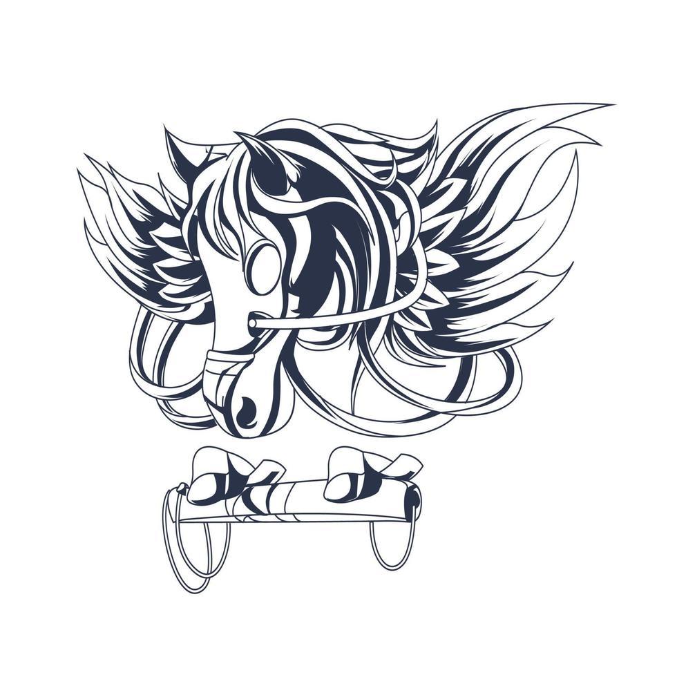 pegasus inkt illustratie kunstwerk vector