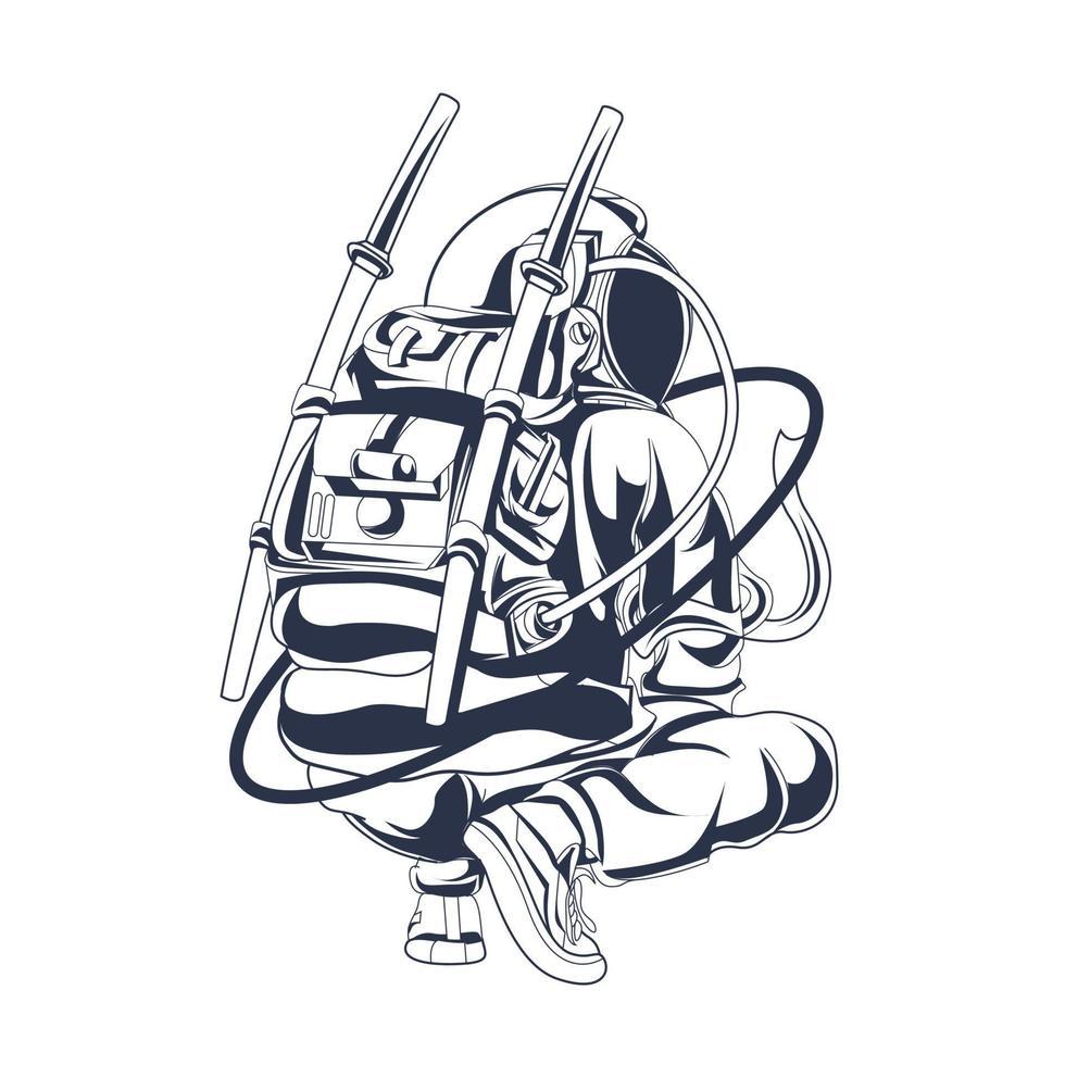 astronaut squat inkt illustratie kunstwerk vector
