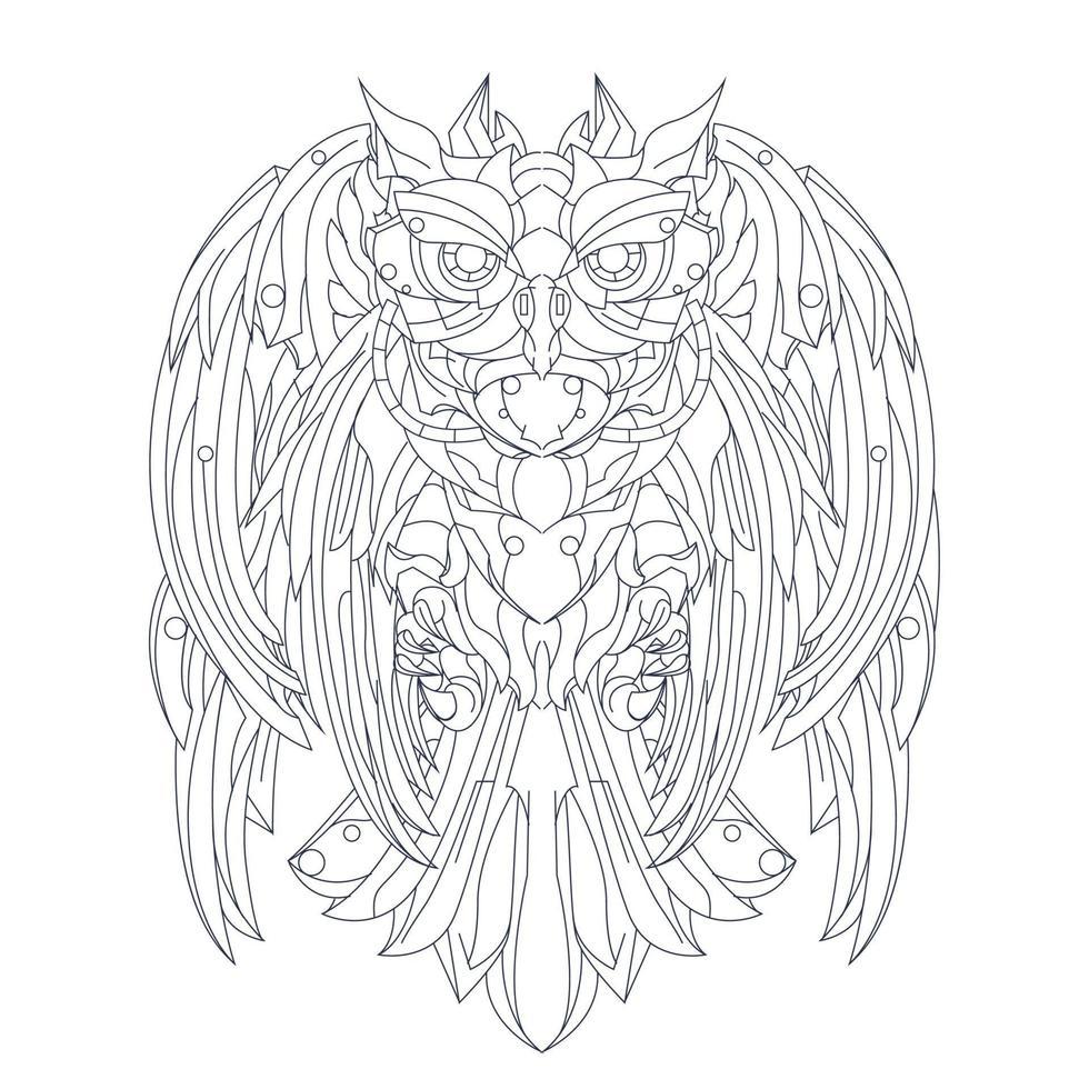 vector hand getekende illustratie van uil robotachtig