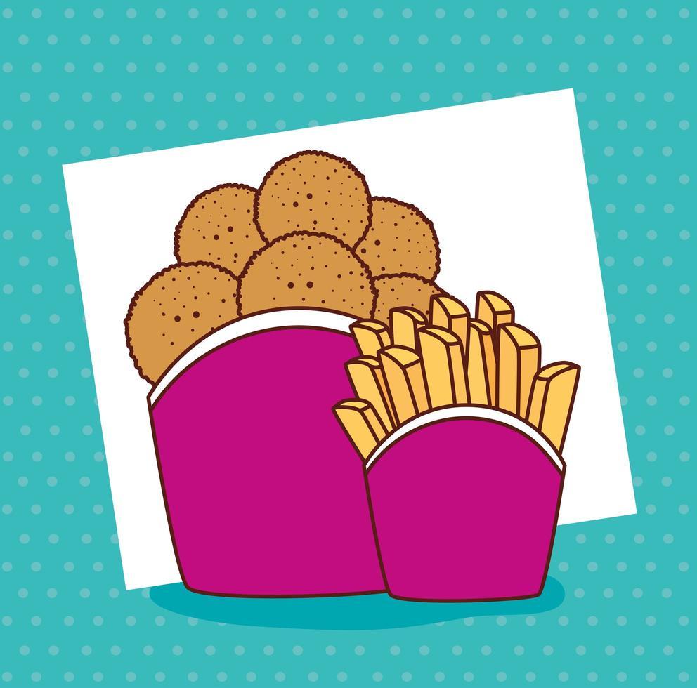 gebakken kip met frietjes, fastfood-combinatie vector