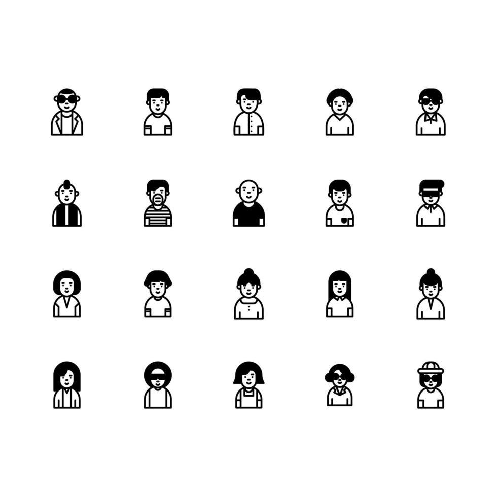 avatar pictogramserie. avatar solide pictogramserie. pictogram voor website, applicatie, print, posterontwerp, etc. vector
