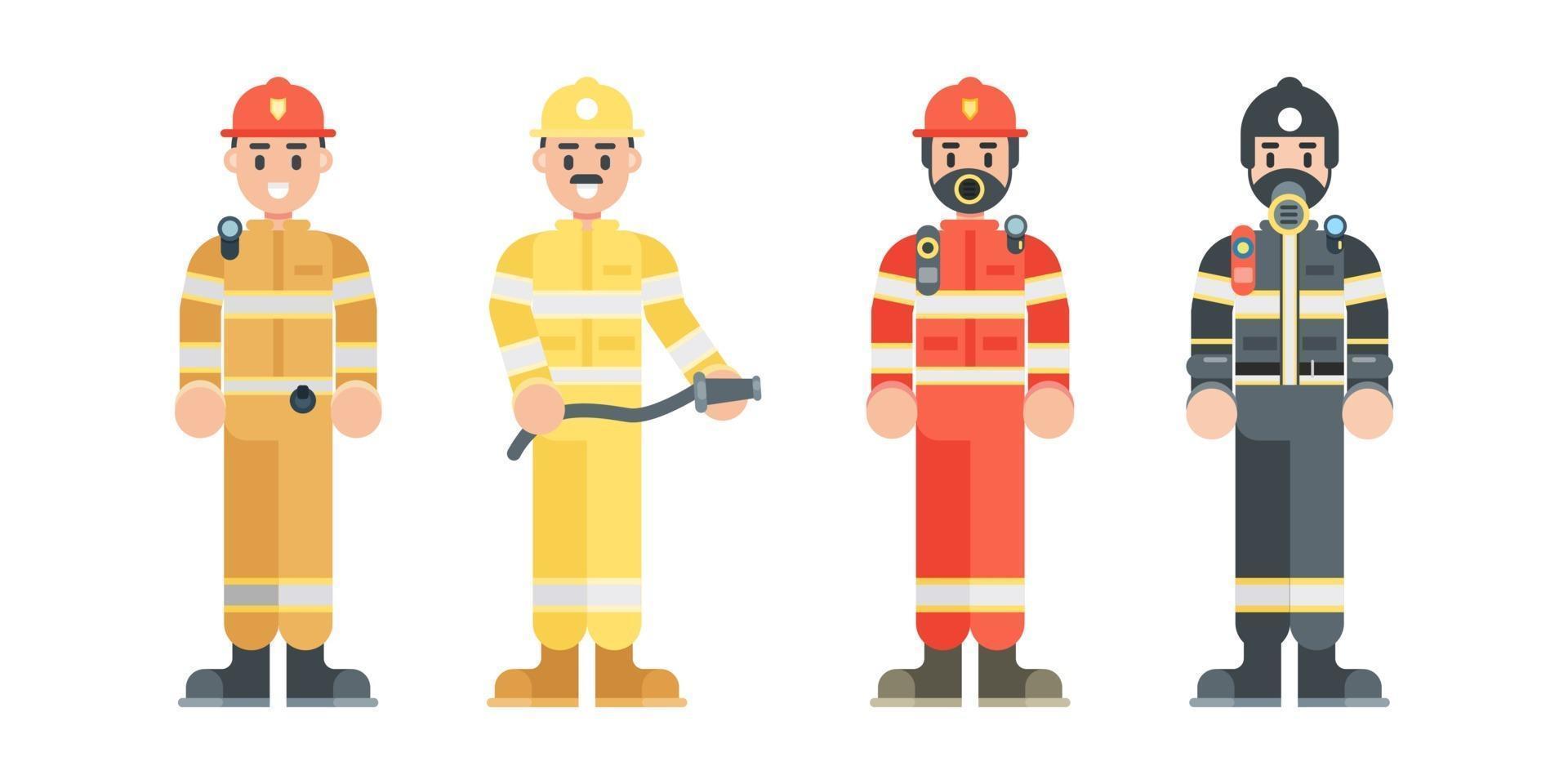 set brandweerman tekens. brandweerman uniform en helm dragen in vlakke stijl. vector illustratie.
