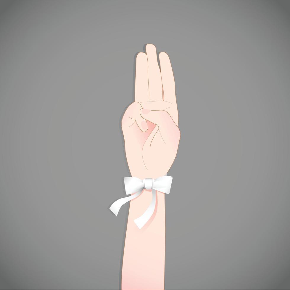 het beeld van een groet met drie vingers, opgeheven met een wit lint, symbool van een campagne tegen politieke correctheid. vector