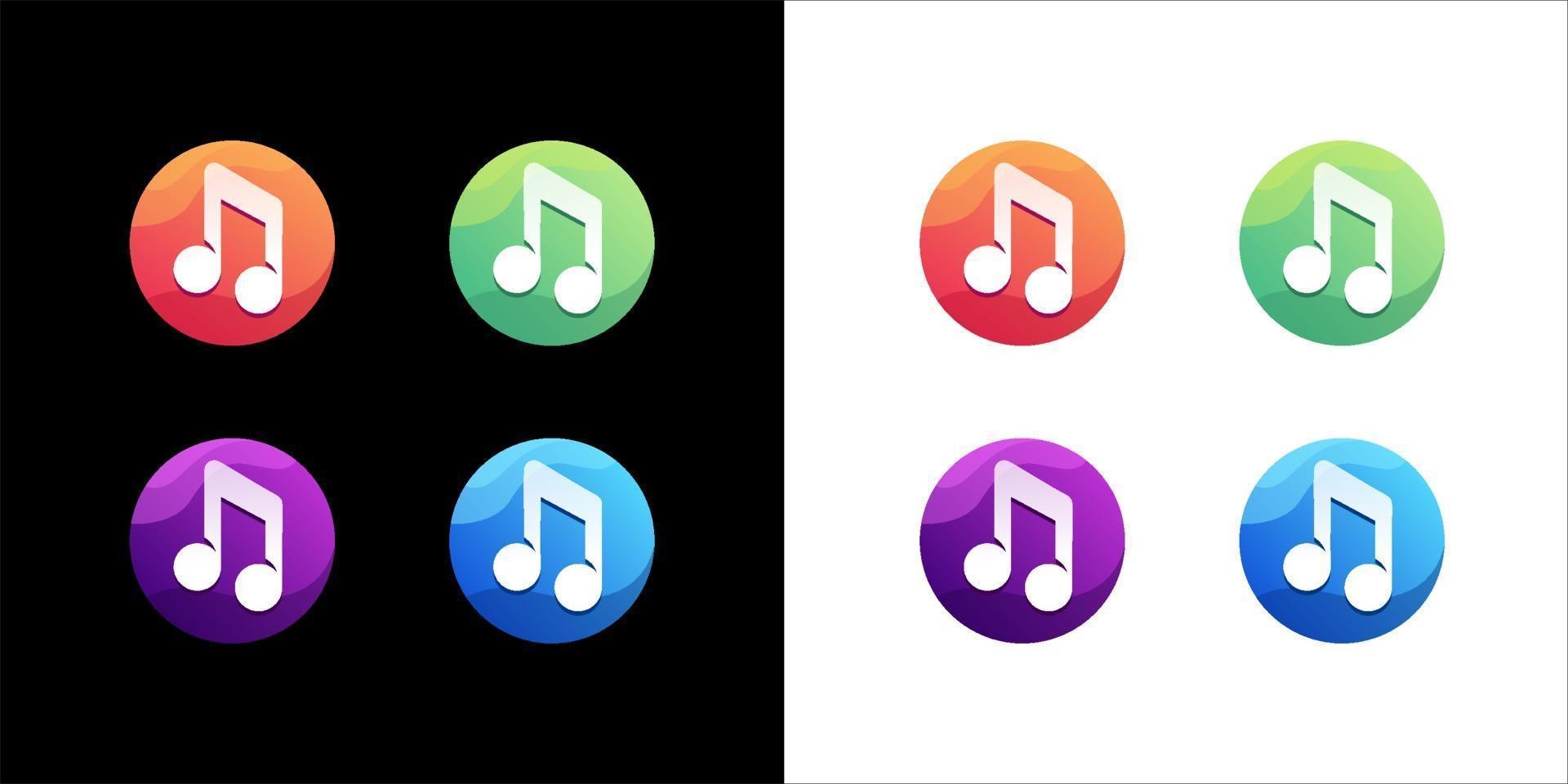 muziek pictogrammenset op witte en donkere achtergrond vector