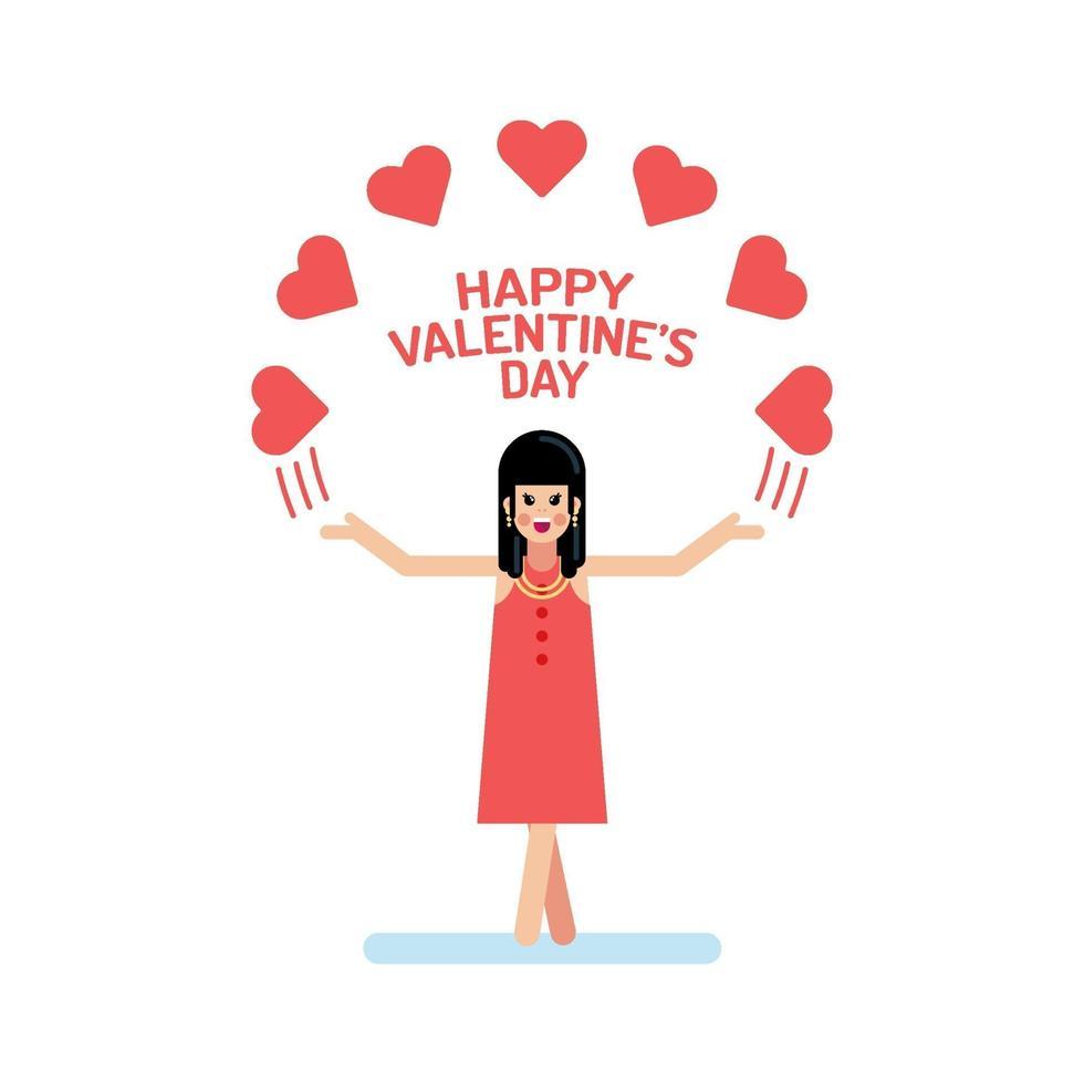 Valentijnsdag meisje platte illustratie vector