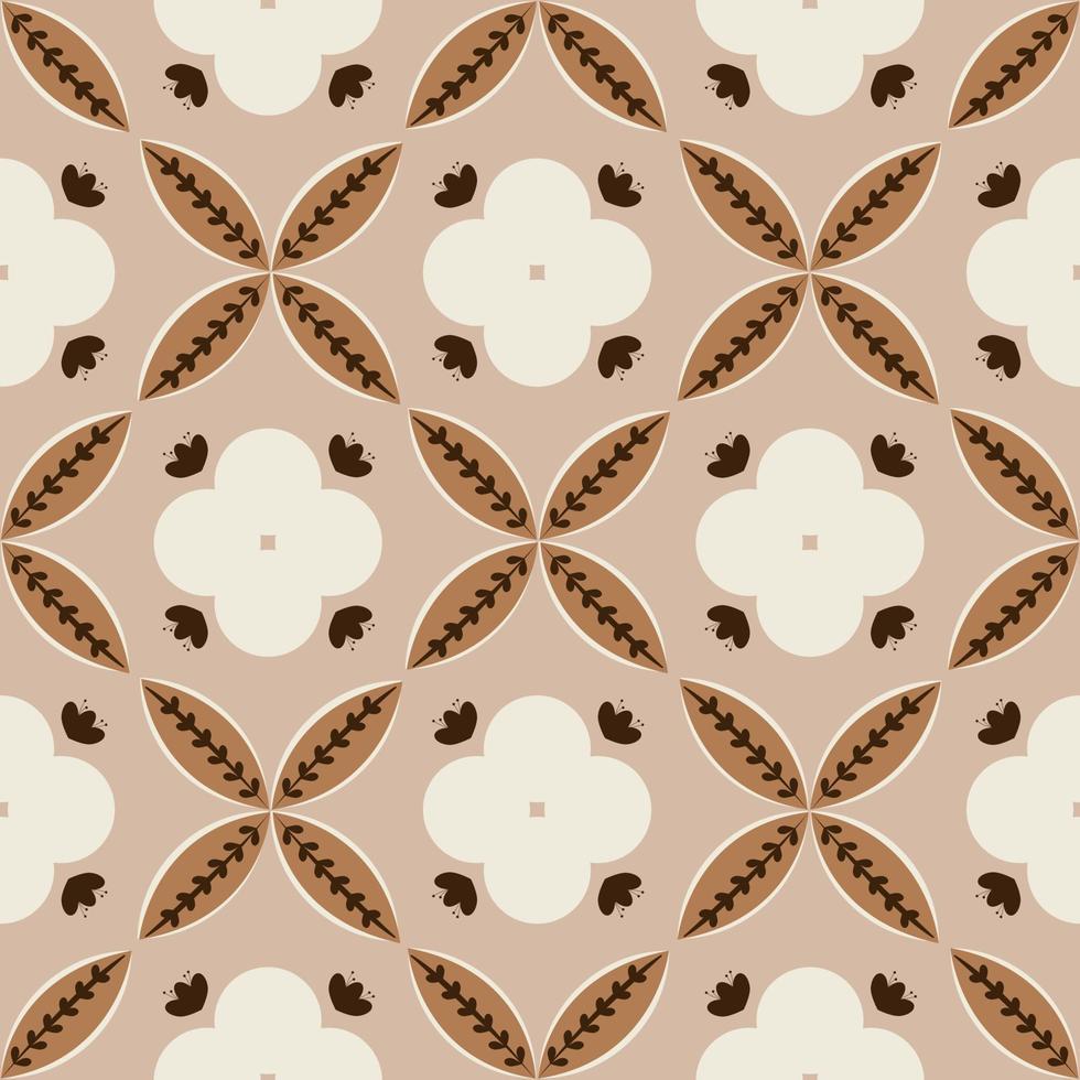 bloemmotief gebaseerd op batik kawung-motieven. naadloos batikpatroon. vector