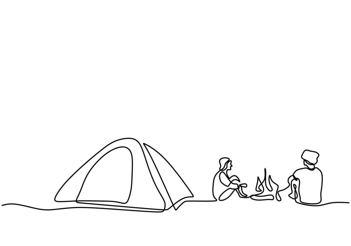 een lijntekening mensen kamperen. jongeren genieten van buitenactiviteiten met tenten en kampvuur. avontuurlijk kamperen en verkennen. gelukkig mannetje opgewonden door kamperen in de bergen en genieten van de natuur vector