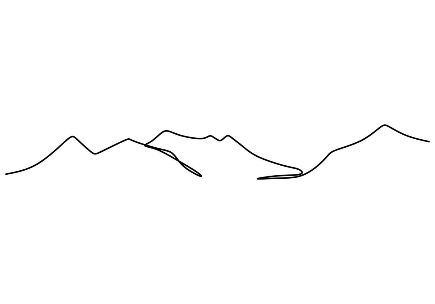 berglandschap continu één lijn vector tekening. prachtig uitzicht met bergen en frisse lucht. natuur, rock panoramische schets. concept vakantie vakantie geïsoleerd op een witte achtergrond