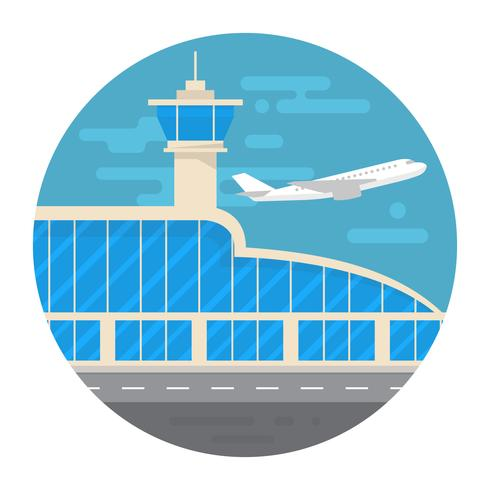 vlakke stijl luchthaven vector