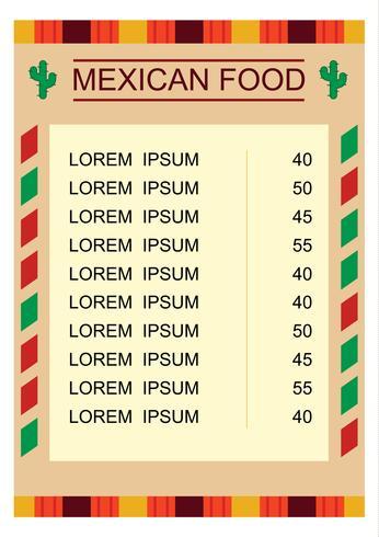 Mexicaans voedselmenu met illustratie vector