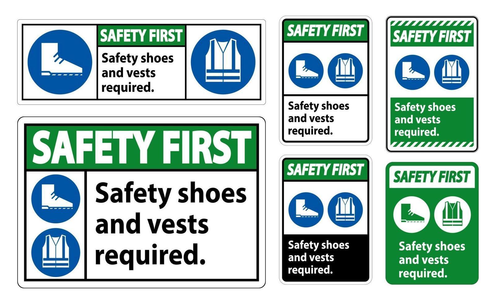 veiligheidsschoenen en vest vereist met pbm-symbolen op witte achtergrond vector