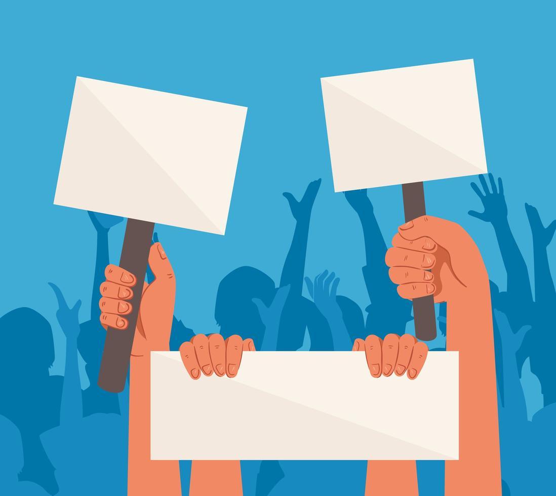 opgeheven handen met lege protestborden vector