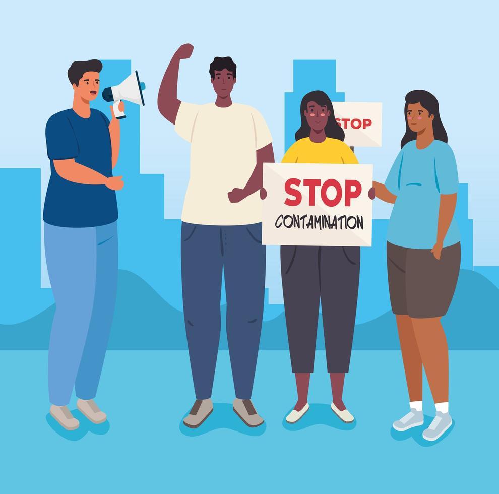groep mensen die protesteren, activisten voor mensenrechtenconcept vector
