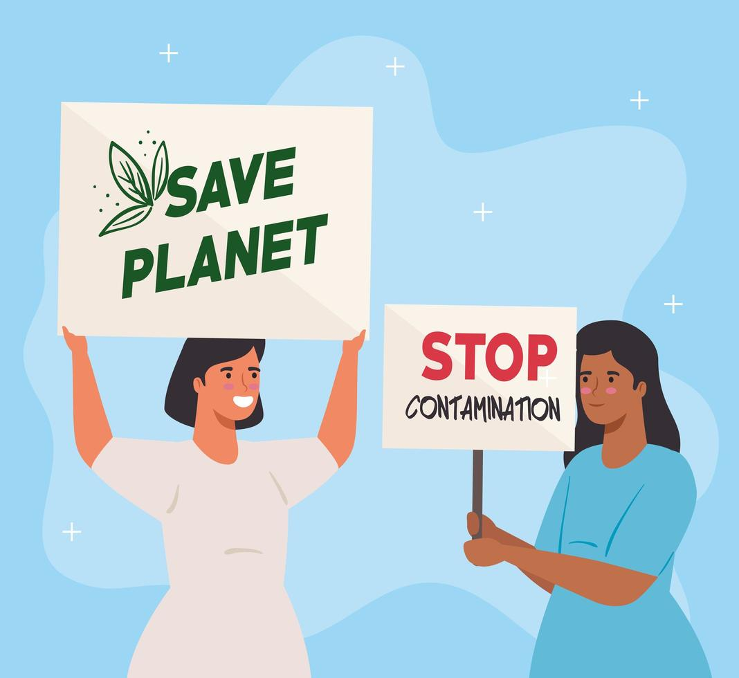 vrouwen van mensen die protesteren, activisten voor mensenrechtenconcept vector