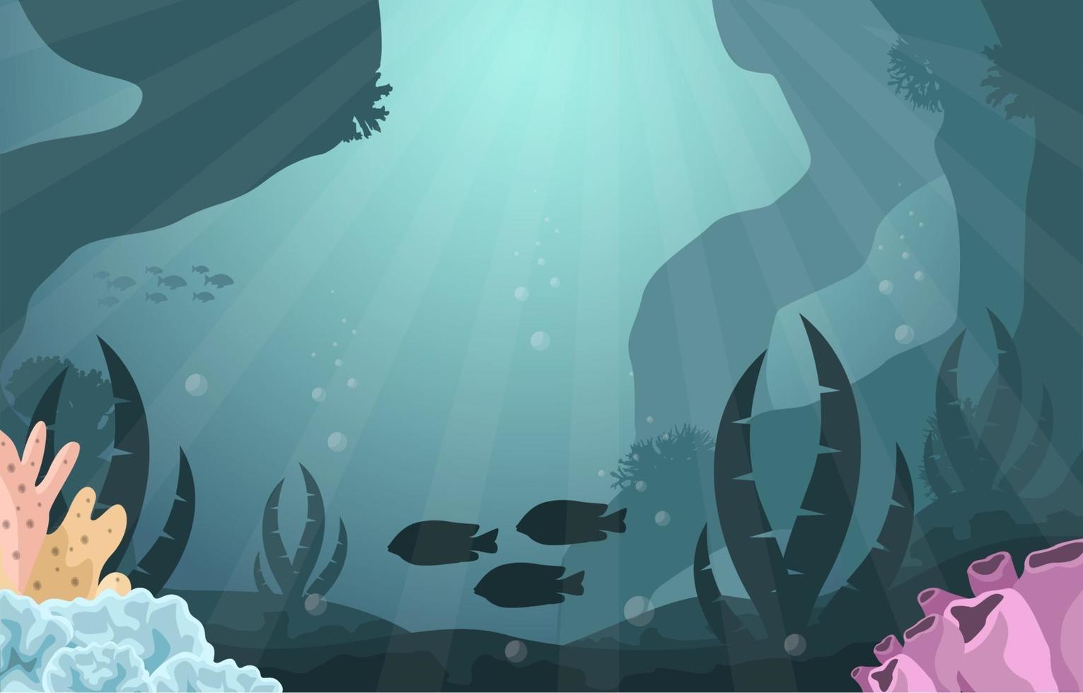 onderwaterscène met vissen en koraalrifillustratie vector