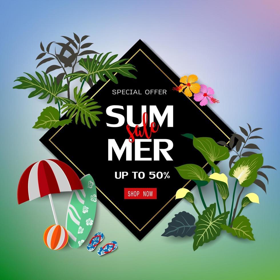 zomer verkoop op natuur achtergrond vector