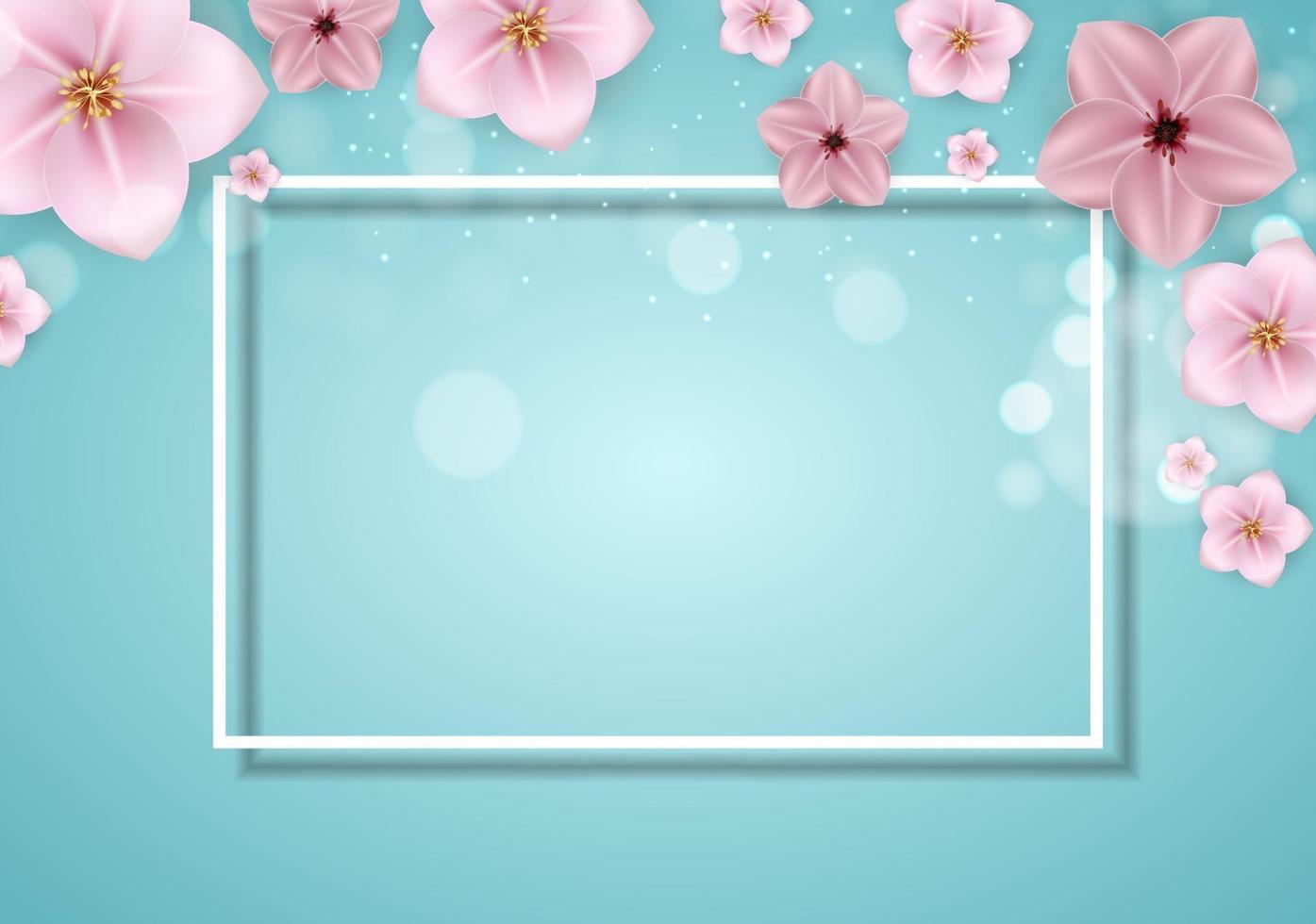 realistische mooie 3d sprind en zomer roze bloemachtergrond. vector illustratie eps10