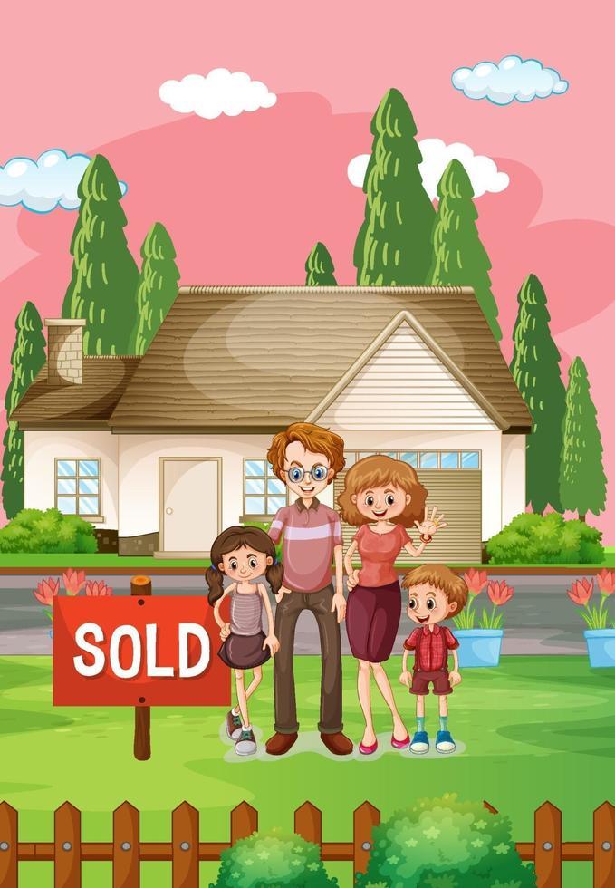 buitenscène met familie die voor een huis te koop staat vector