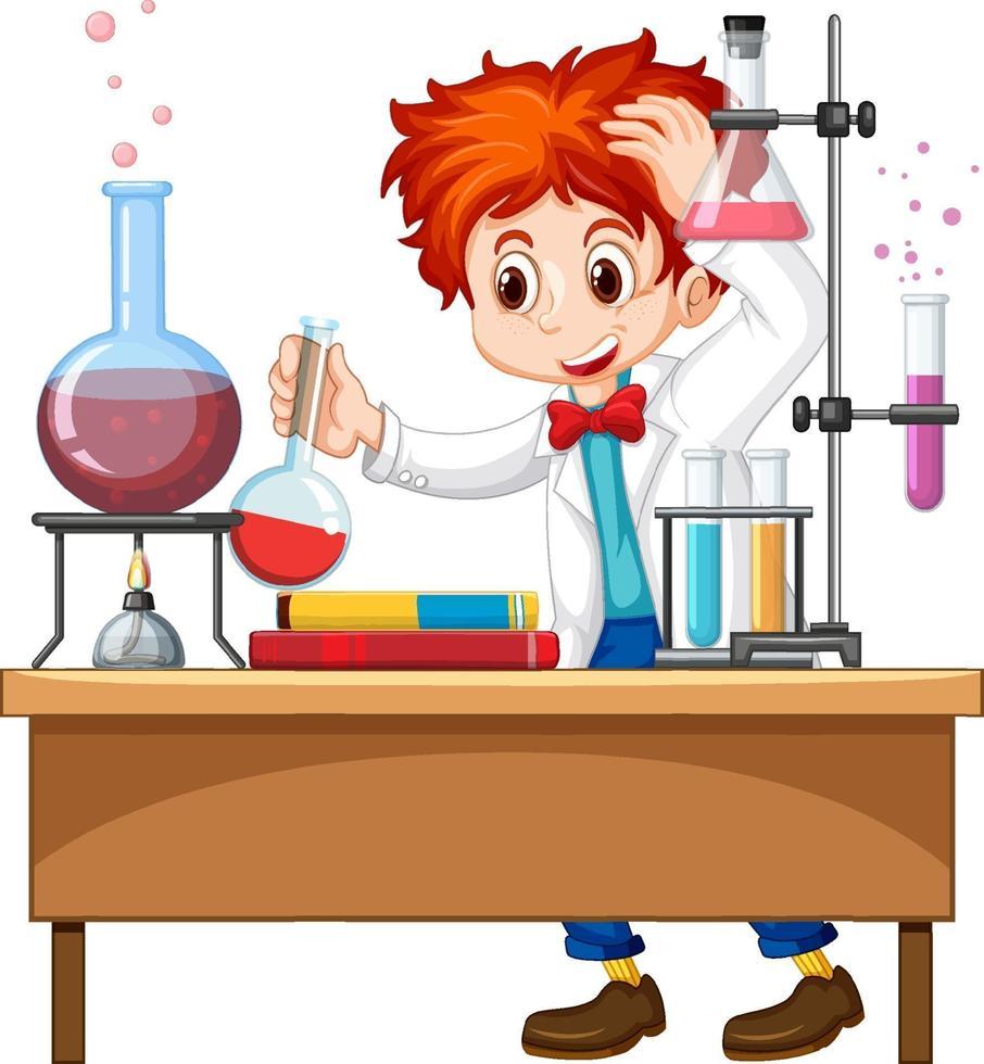 onderzoeker experiment in het laboratorium vector