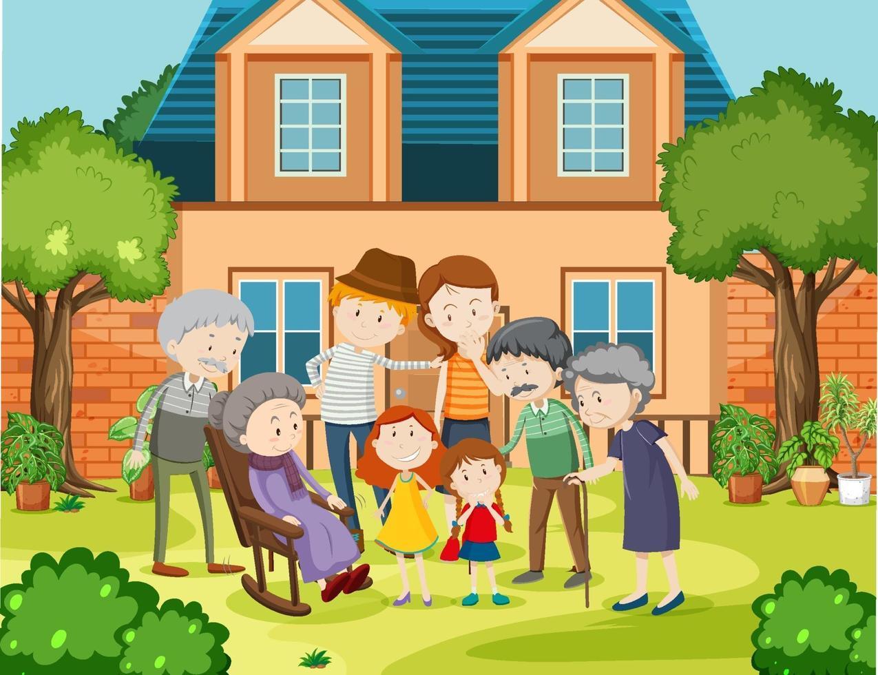 lid van de familie thuis buiten scène vector