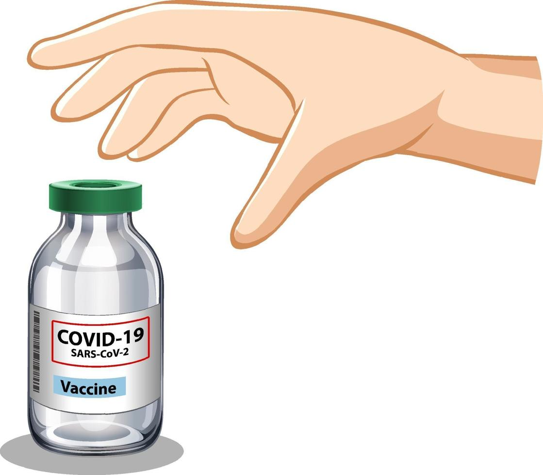 hand die covid-19-vaccin op witte achtergrond probeert te grijpen vector
