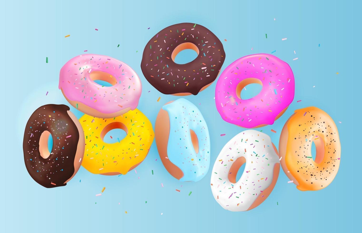 realistische 3d zoete smakelijke donut achtergrond. kan worden gebruikt voor dessertmenu, poster, kaart. vector illustratie