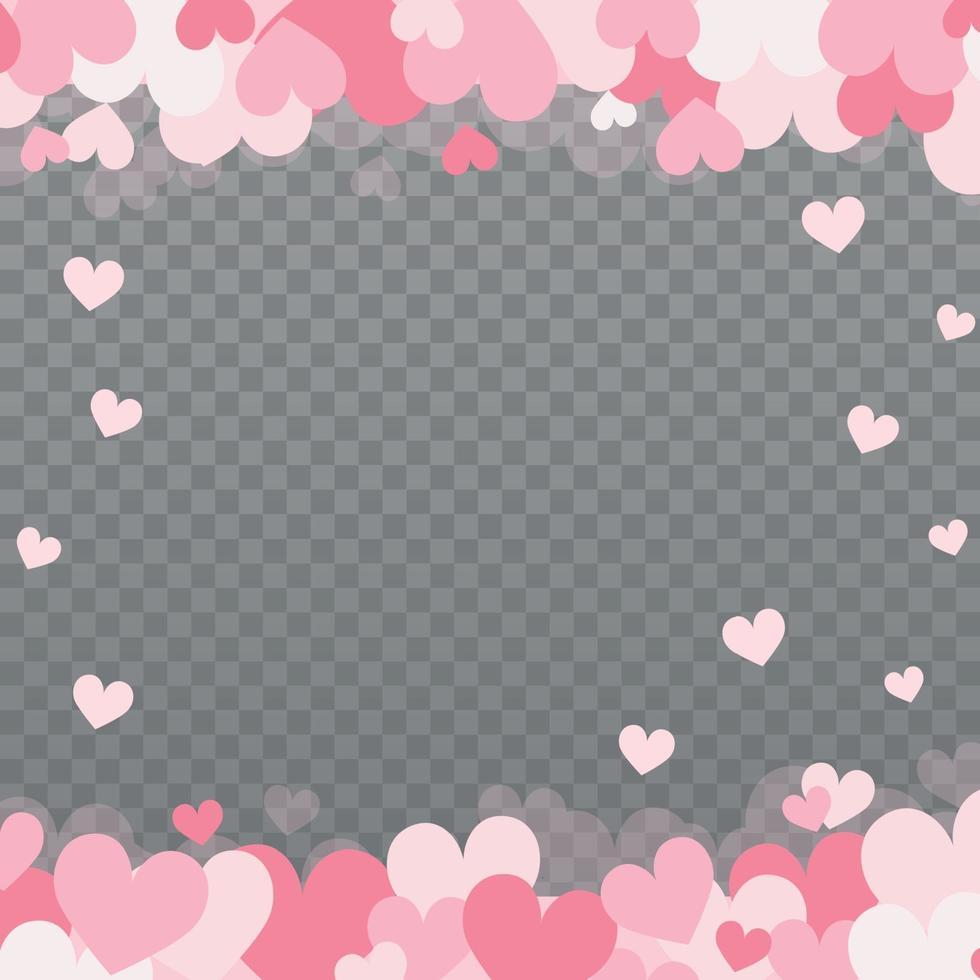 zacht roze-rode harten op een grijze geruite achtergrond vector