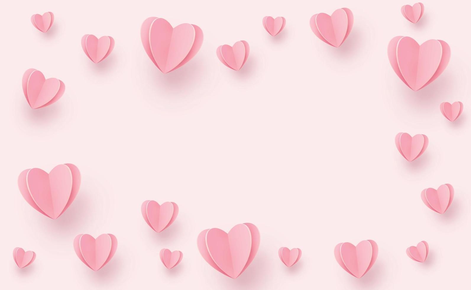 zachte roze-rode harten op een roze achtergrond - afbeelding vector