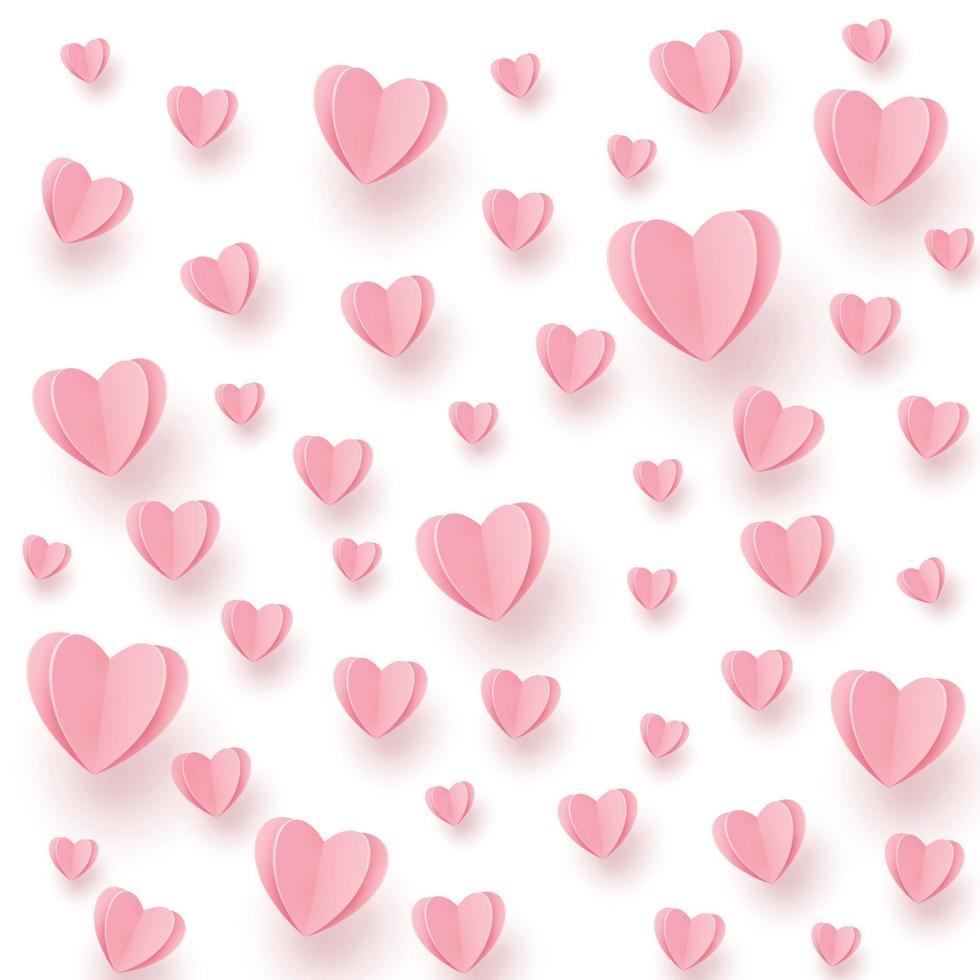 zachte roze-rode harten op een witte achtergrond vector