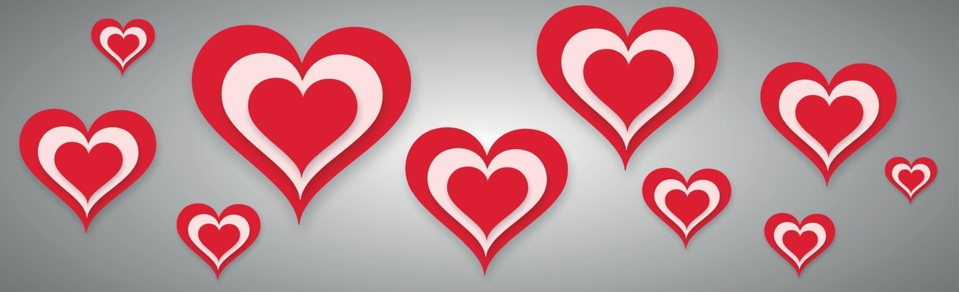 abstract feestelijk rood hart op grijze achtergrond - vector afbeelding