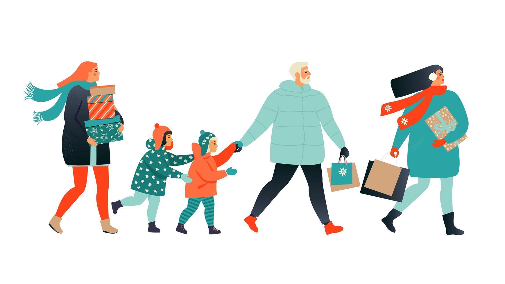 vrolijk kerstfeest wenskaart met mensen lopen en dragen huidige dozen. xmas winter poster collectie. vector