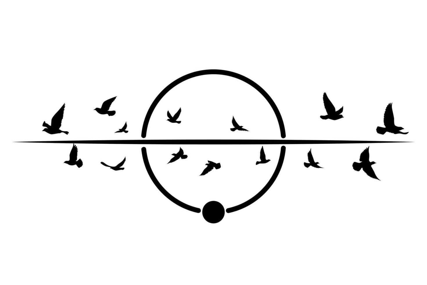 vliegende vogels silhouetten op geïsoleerde achtergrond. vector illustratie. geïsoleerde vogel vliegen. tatoeage en behang achtergrondontwerp. vogelvlieg en geometrische vormen.