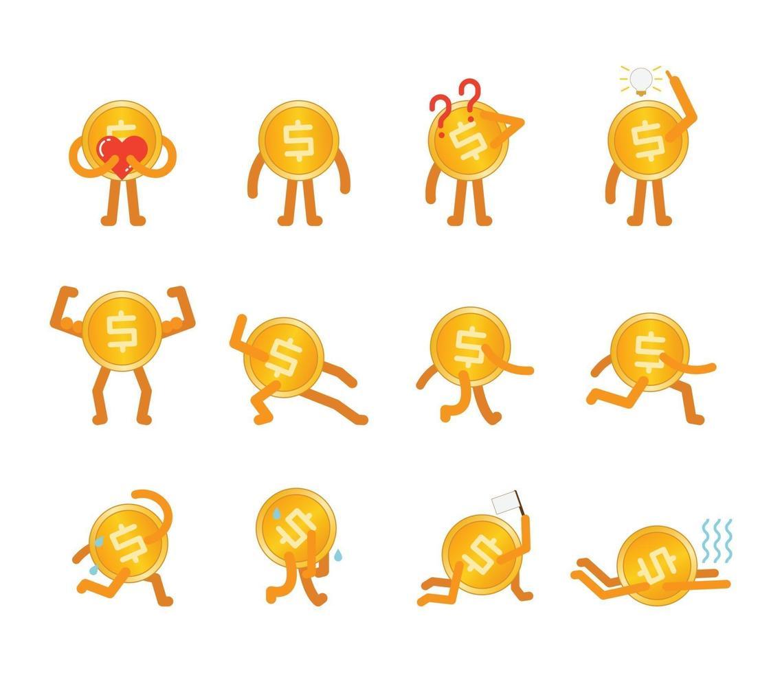 dollar munt man in verschillende poses, liefde, staan, verward, idee, sterk, lopen, rennen, moe en nog veel meer vector