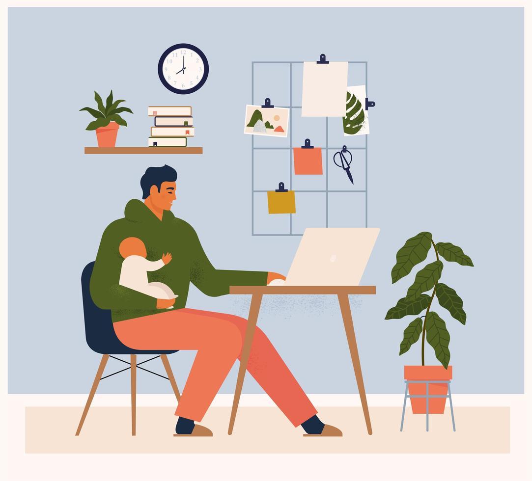 jongeman karakter dat werk en babyverzorging tegelijkertijd combineert. modern ouderschap. plat bewerkbare vector illustratie.