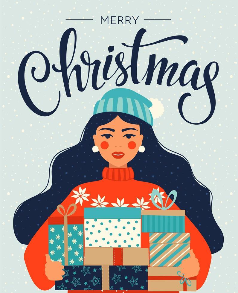 kerstmis en gelukkig nieuwjaarsjabloon met de giften van de meisjesholding vector