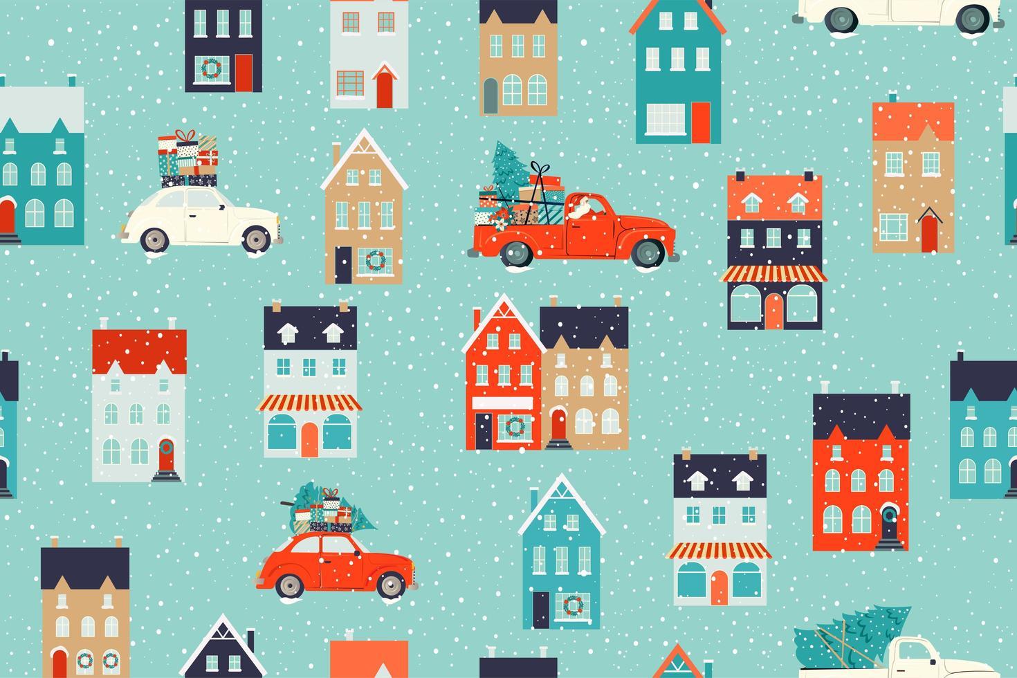 winterhuizen voor kerst en rode retro auto met een dennenboom en geschenken. kerststoffen en decor. naadloze patroon. vector