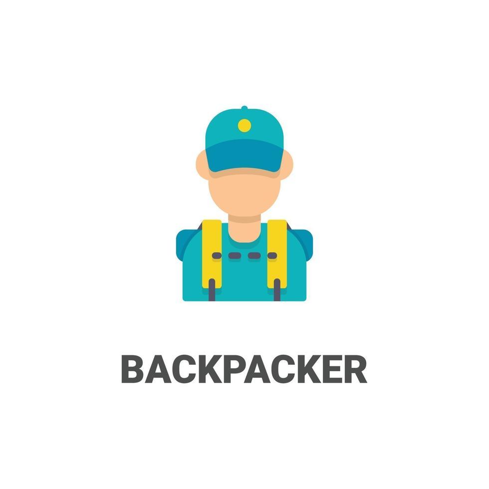 avatar backpacker vector icoon uit avatar collectie. vlakke stijlillustratie, perfect voor uw website, applicatie, afdrukproject, enz