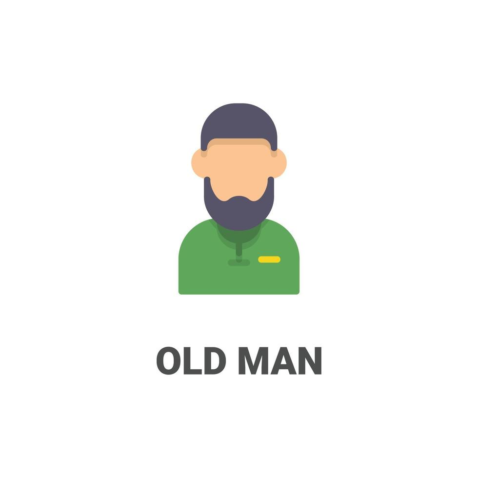 avatar oude man vector pictogram uit avatar collectie. vlakke stijlillustratie, perfect voor uw website, applicatie, afdrukproject, enz