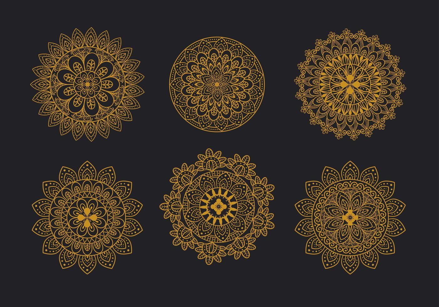 bloemen mandala ornament set vector