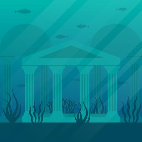 De gouden oude ruïnes stad van Atlantis illustratie vector